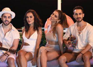 Anitta com Gabriela, Rodrigo e Diogo, irmãos que formam o grupo Melim — Foto: Reprodução/Instagram