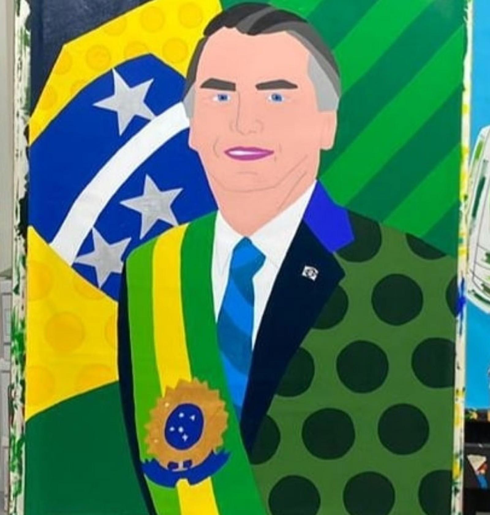 Pintura de Romero Britto retrata o Presidente Jair Bolsonaro e foi divulgada por Flávio Bolsonaro — Foto: Reprodução/Instagram/flaviobolsonaro