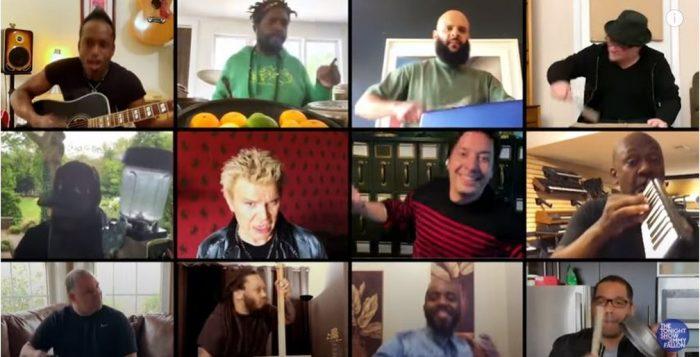 Billy Idol, Jimmy Fallon e The Roots fazem remix de 'Dancing with myself' com instrumentos caseiros — Foto: Reprodução/YouTube