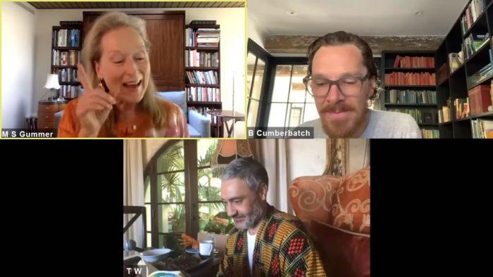 Meryl Streep, Benedict Cumberbatch e Taika Waititi lêem 'James e o Pêssego Gigante' — Foto: Reprodução/YouTube/Roald Dahl HQ