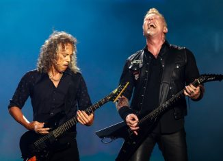 Kirk Hammett e James Hetfield, do Metallica, em show no Lollapalooza 2017 — Foto: Marcelo Brandt/G