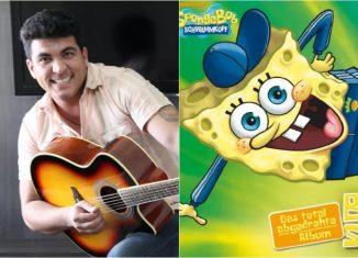 Cássio Sampaio em 2012 e a capa do álbum que tem a versão em alemão de 'Tchetchê rere' cantada por Bob Esponja — Foto: Divulgação