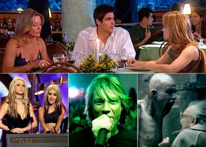 Em cima, Vera Fischer (Helena), Reynaldo Gianecchini (Edu) e Carolina Dieckmann (Camila). Embaixo, os temas da conversa em 'Laços de família': Britney x Christina Aguilera, Bon Jovi e o techno de artistas como Aphex Twin — Foto: Reprodução TV Globo / MTV EUA e Divulgação
