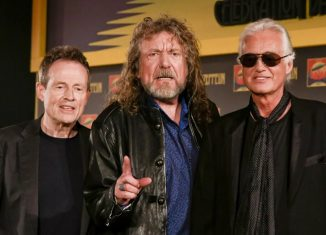John Paul Jones, Robert Plant e Jimmy Page durante lançamento do filme 'Celebration day', em 2016 — Foto: Miles Willis/Invision/AP