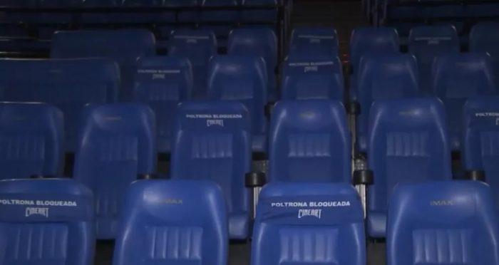Poltronas de cinema serão bloqueadas para garantir distanciamento. — Foto: TV Globo